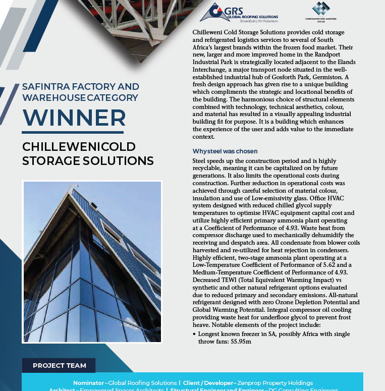 SAFINTRA FACTORY AND WAREHOUSE CATEGORY WINNER